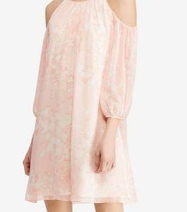 Pink Floral-Print Georgette Cold-Shoulder Dress